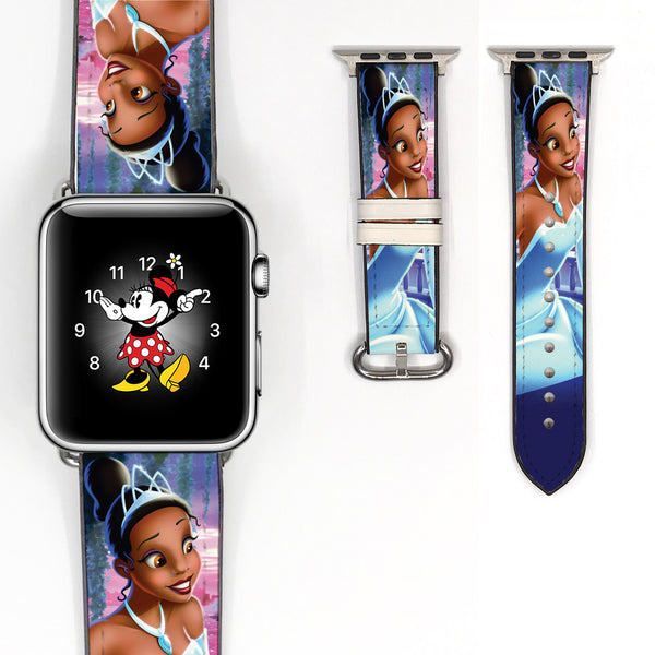 Disney Princess tiana princess and the frog Inspired 38 40 42 44 mm Soft Silicon Sport Strap Apple Watch Band -v527