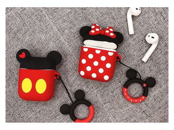 Mickey and Minnie soft silicon AirPods 1 2 case with holding ring  [AP010]