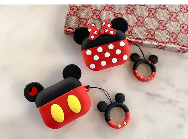 Mickey and Minnie soft silicon AirPods Pro 3 case with holding ring  [AP009]