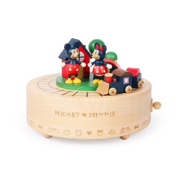 Disney Mickey & Minnie Mouse Train Wooden Music Box - Merry Go Around
