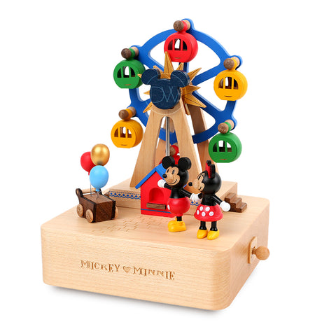 Disney Mickey & Minnie Mouse Ferris Wheel Wooden Music Box - Merry Go Around