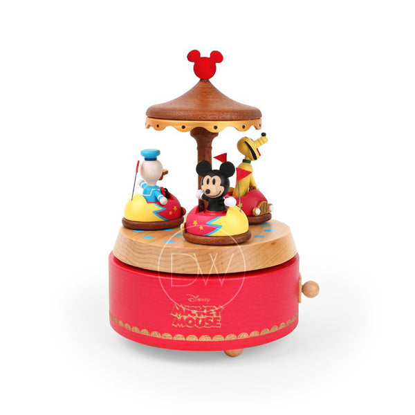 Disney Mickey & Minnie Mouse Bumper Cars Wooden Music Box - Merry Go Around