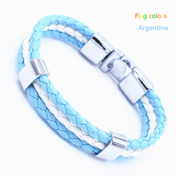 Braided PU leather Bracelet with different National colors