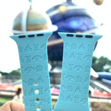 Theme park disney attraction icons inspired Laser Engraved Apple Watch Band