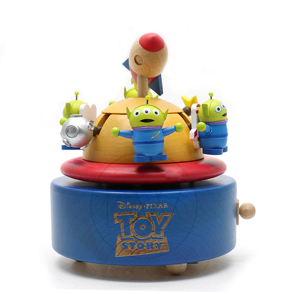 Disney Pixar Toy Story Wooden Music Box Three Eyes Aliens - Merry Go Around