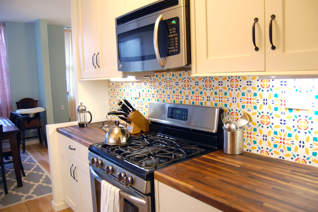 Original Tyles, temporary kitchen backsplash