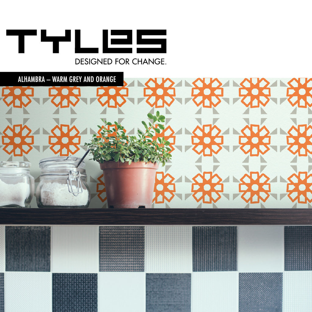 NEW! Tyles Alhambra in Warm Grey and Orange - Tyles  - 1