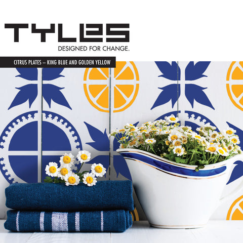 Tyles Citrus Plates in King Blue and Golden Yellow