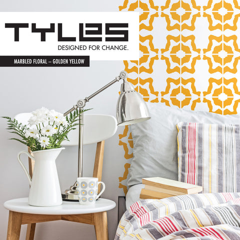 Tyles Marbled Floral in Golden Yellow