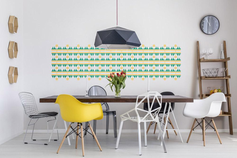 convo, african, wallpaper, blue pattern, green and yellow tile pattern