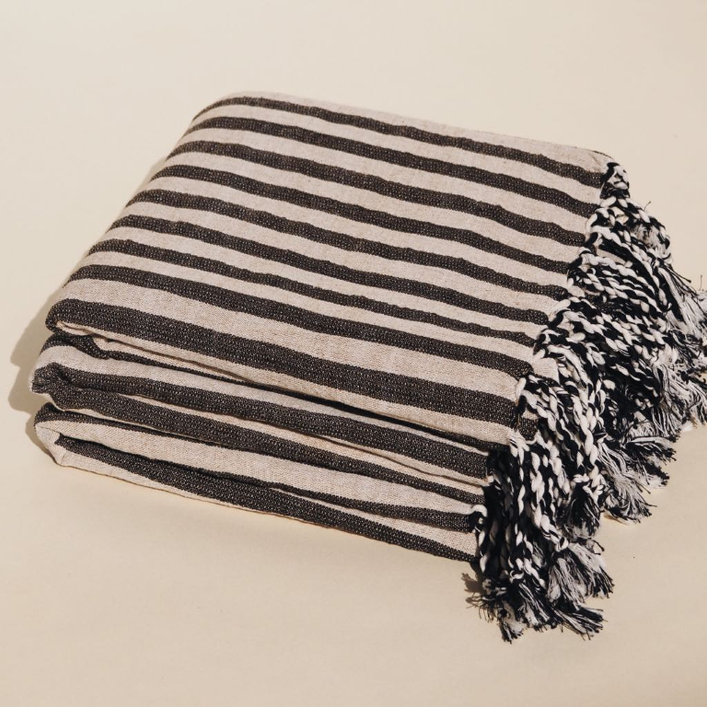 Strandtuch Striped Black von Mizar & Alcor