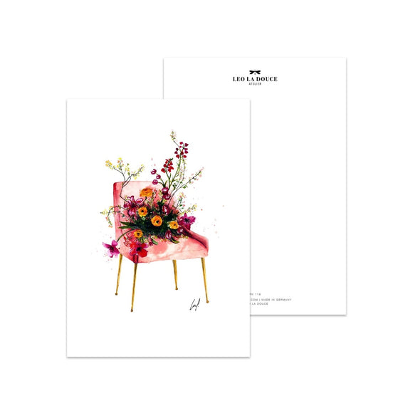 Postkarte Flower Chair