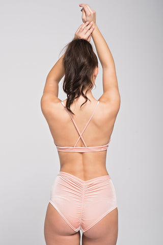 Spicy Velvet High Waist Shorts - Peach-Pole Addict-Pole Junkie