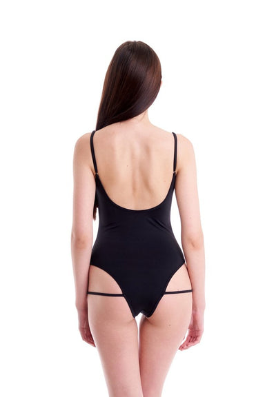 Hamade Activewear Hollow Front Bodysuit - Black-Hamade Activewear-Pole Junkie