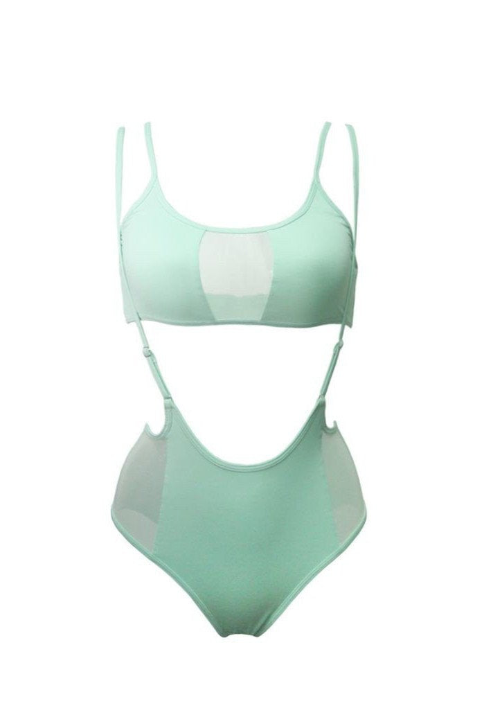 Hamade Activewear Mesh-side High Waisted Sling Bottoms - Mint-Hamade Activewear-Pole Junkie