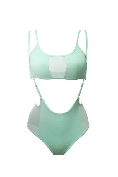 Mesh-side High Waisted Sling Bottoms - Mint-Hamade Activewear-Pole Junkie