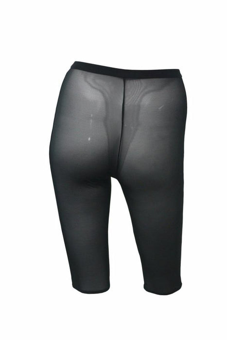 Mesh High Waisted Cycling Shorts Chaps - Black-Hamade Activewear-Pole Junkie