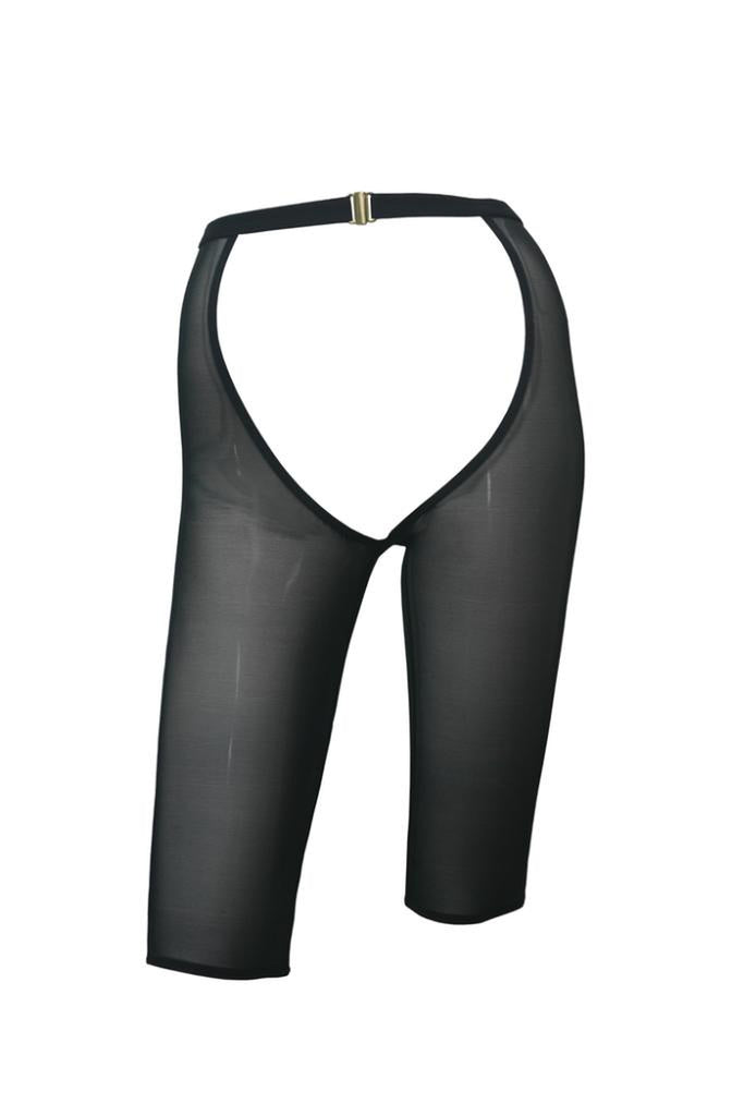 Hamade Activewear Mesh High Waisted Cycling Shorts Chaps - Black-Hamade Activewear-Pole Junkie