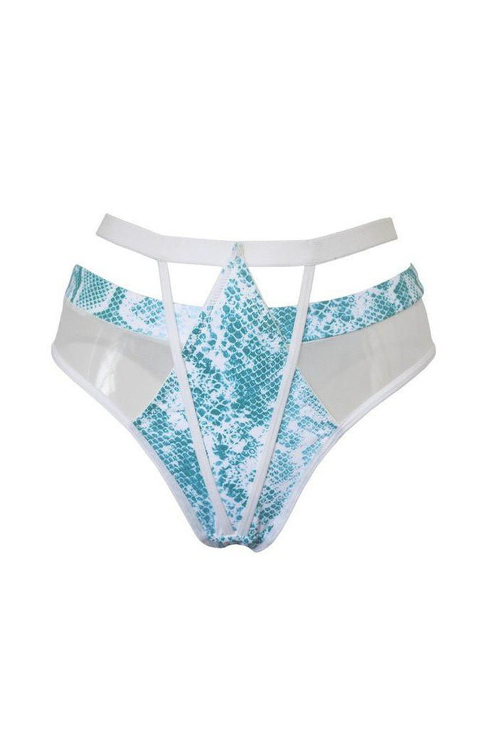 Strappy High Waisted Bottoms - Aqua Snake-Hamade Activewear-Pole Junkie