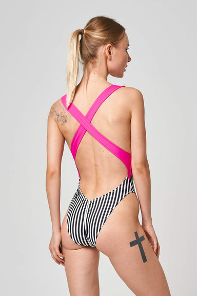 Shark Polewear Vashkelita Bodysuit - Pink/Striped-Shark Polewear-Pole Junkie
