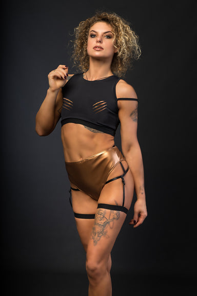 Paradise Chick Sasha Meow 'Scratches' Top - Bronze-Paradise Chick-Pole Junkie