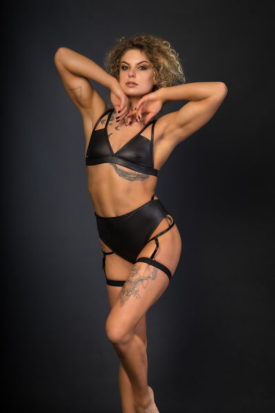 Sasha Meow High Waist Garter Shorts - Black-Paradise Chick-Pole Junkie
