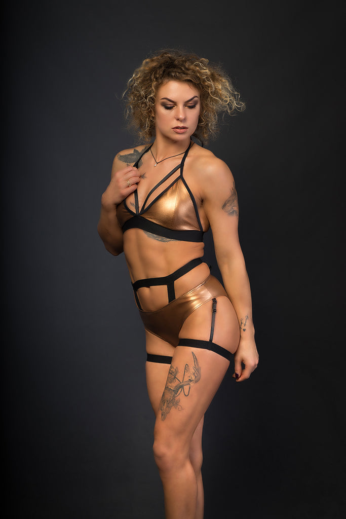 Sasha Meow Triangle Top - Bronze-Paradise Chick-Pole Junkie