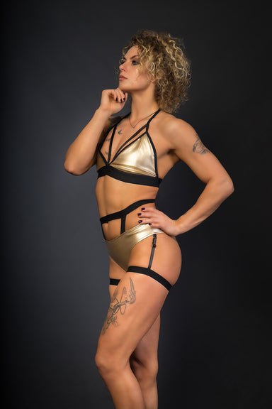 Paradise Chick Sasha Meow Triangle Top - Gold-Paradise Chick-Pole Junkie