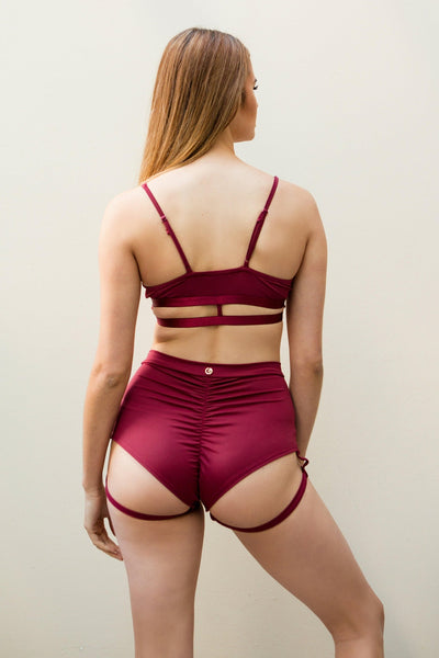 Lure You High Waisted Garter Shorts - Wine-Luna Pole Wear-Pole Junkie