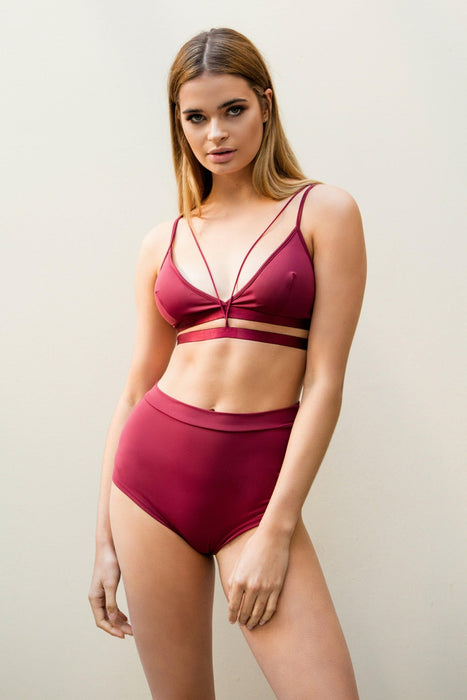 High Waist Shorts - Wine-Luna Pole Wear-Pole Junkie