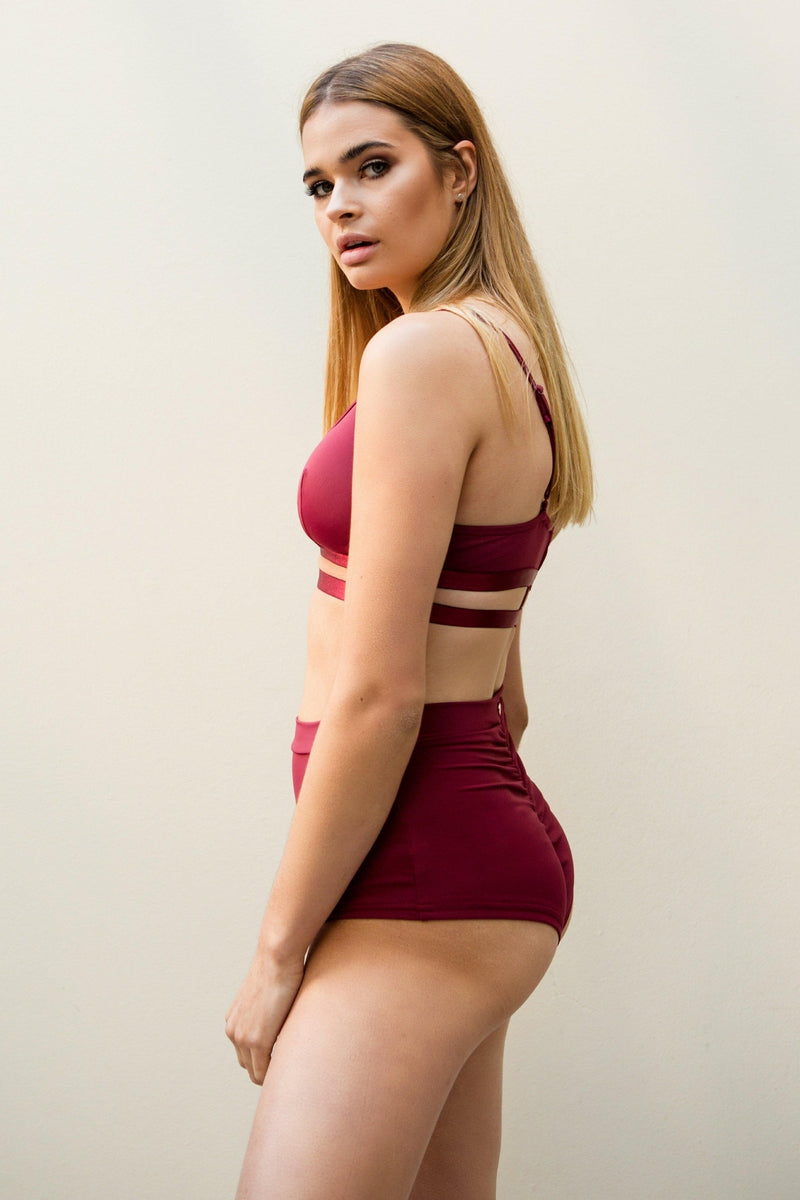 Lunalae High Waist Shorts - Wine-Lunalae-Pole Junkie