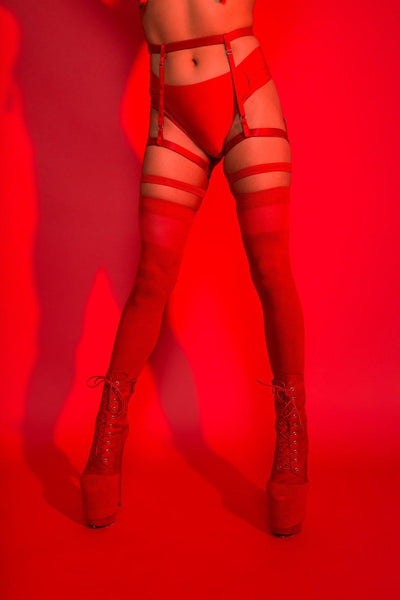 Red cotton/transparent over the knee socks-Rolling-Pole Junkie