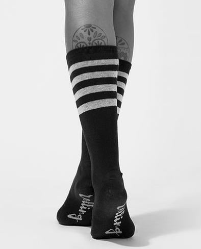 Rolling Calf High Socks - Black and White Striped-Rolling-Pole Junkie