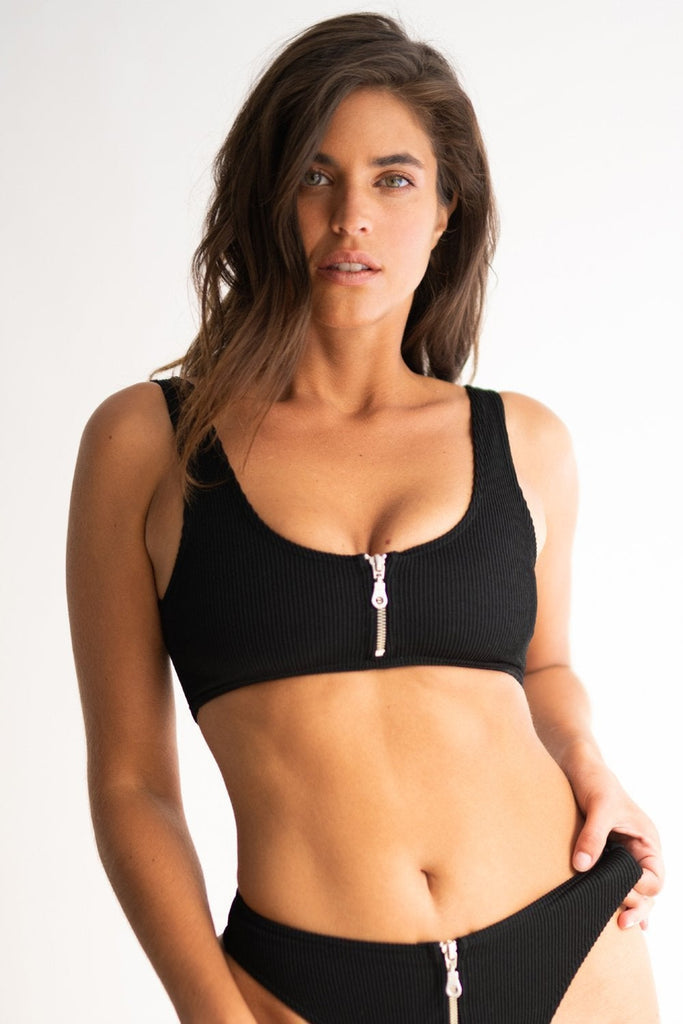 Ribbed Zip Top - Black-RAD-Pole Junkie