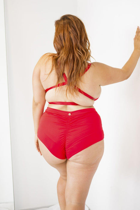 High Waist Shorts - Red-Lunalae-Pole Junkie