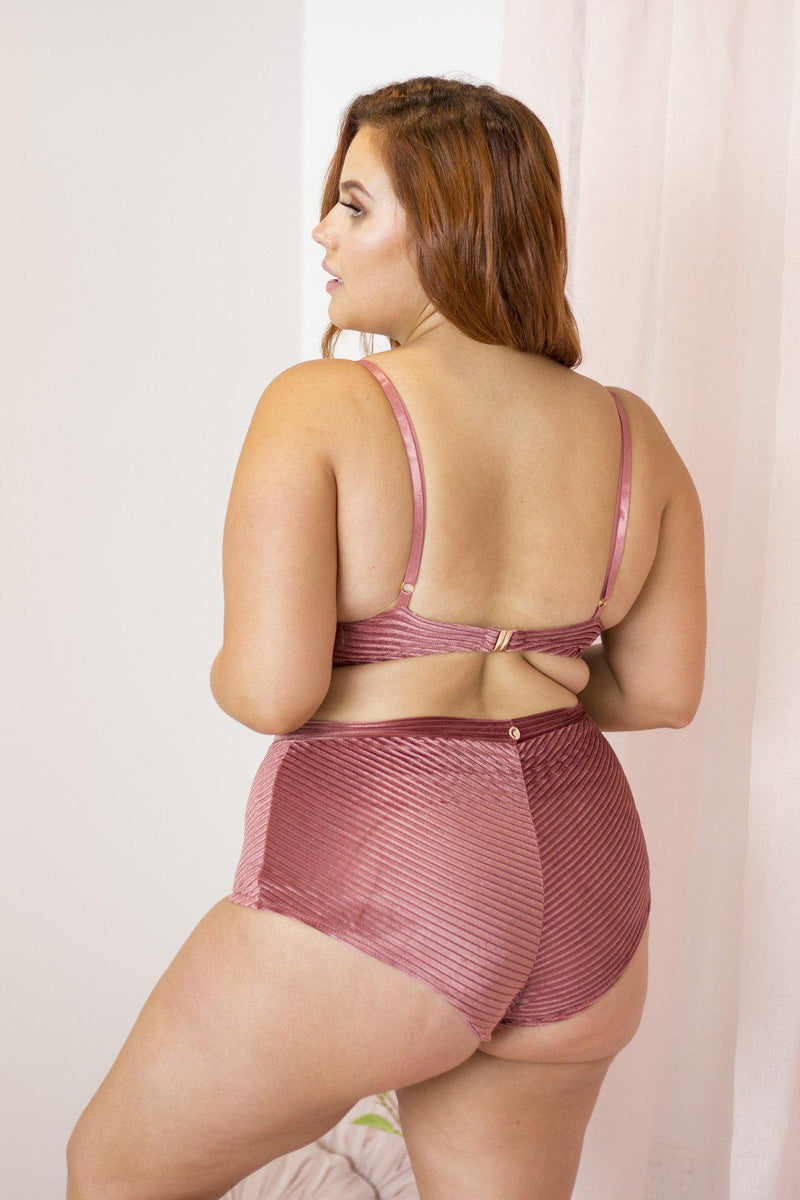 Lunalae Lana Top - Dusty Rose Velvet-Lunalae-Pole Junkie