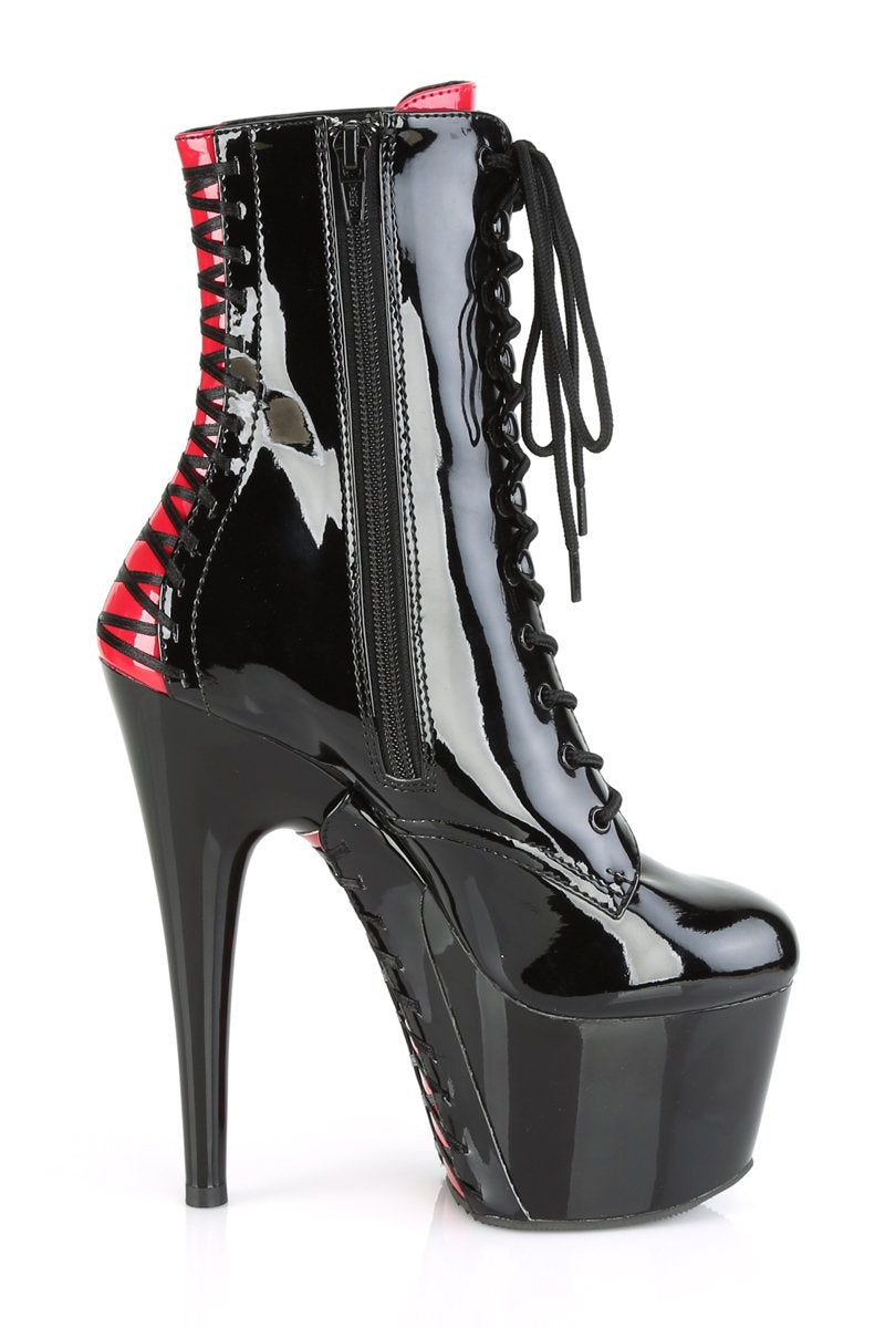 Pleaser USA Adore-1020FH 7inch Pleaser Boots - Black/Red Corset-Pleaser USA-Pole Junkie