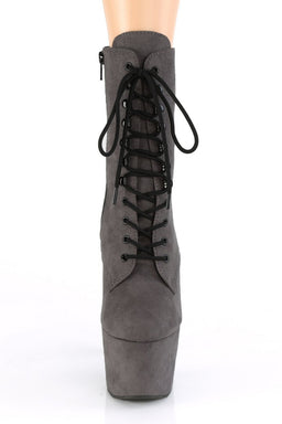 Pleaser USA Adore-1020FS Faux Suede 7Inch Pleaser Boots - Grey-Pleaser USA-Pole Junkie