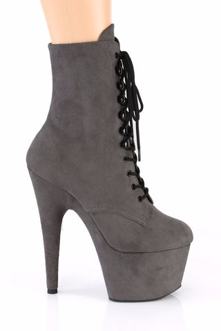Adore-1020FS Faux Suede 7Inch Pleaser Boots - Grey-Pleaser USA-Pole Junkie