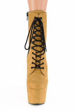 Pleaser USA Adore-1020FS Faux Suede 7Inch Pleaser Boots - Mustard-Pleaser USA-Pole Junkie