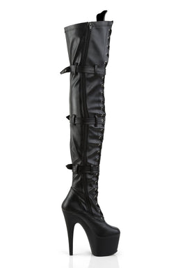 Pleaser USA Adore-3028 7inch Thigh High Pleaser Boots - Matte Black-Pleaser USA-Pole Junkie