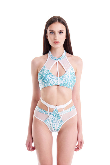 Hamade Activewear Strappy High Waisted Bottoms - Aqua Snake-Hamade Activewear-Pole Junkie