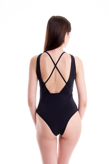 Hamade Activewear Asymmetric Cross Back Bodysuit - Black-Hamade Activewear-Pole Junkie