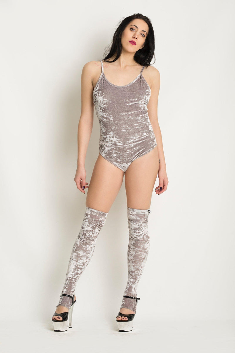 Paradise Chick Animal Velvet Leg Warmers (with kneepads) - Silver-Paradise Chick-Pole Junkie