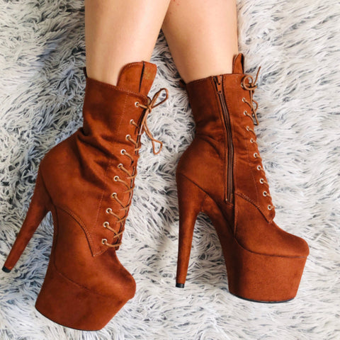 **PRE-ORDER** BabyDoll 7inch Boots - Chestnut-Hella Heels-Pole Junkie