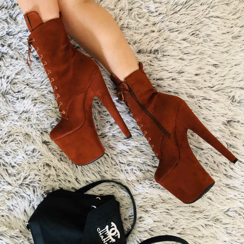 **PRE-ORDER** BabyDoll 8inch Boots - Chestnut-Hella Heels-Pole Junkie