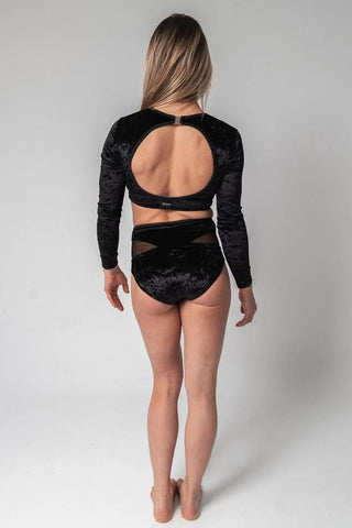 Long-Sleeve Velvet Top - Black-Paradise Chick-Pole Junkie