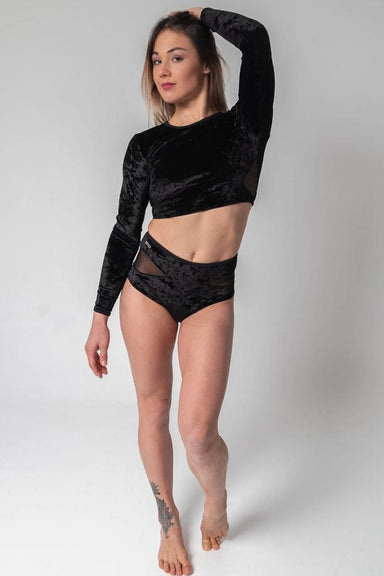 Paradise Chick Long-Sleeve Velvet Top - Black-Paradise Chick-Pole Junkie