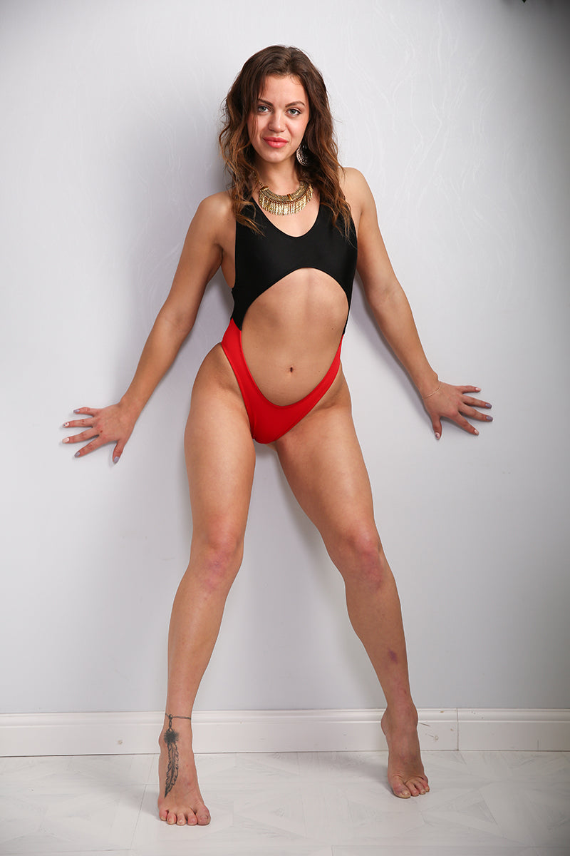 Shark Polewear Vashkelita Bodysuit - Black/Red-Shark Polewear-Pole Junkie