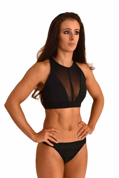 Mesh Sports Bra - Black-Off The Pole-Pole Junkie